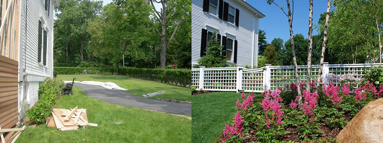 fence and garden landscaped